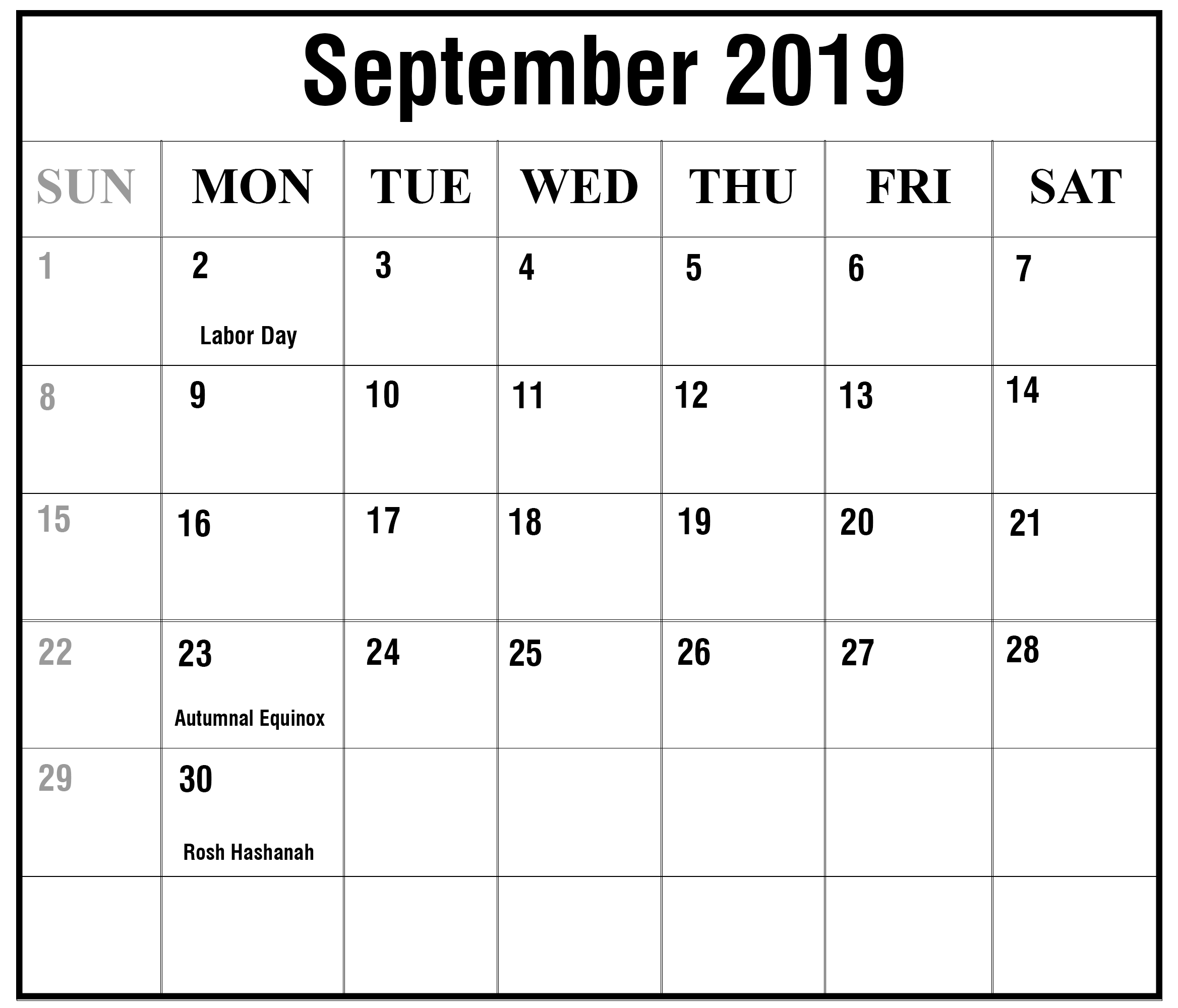 September 2019 Calendar Blank Template