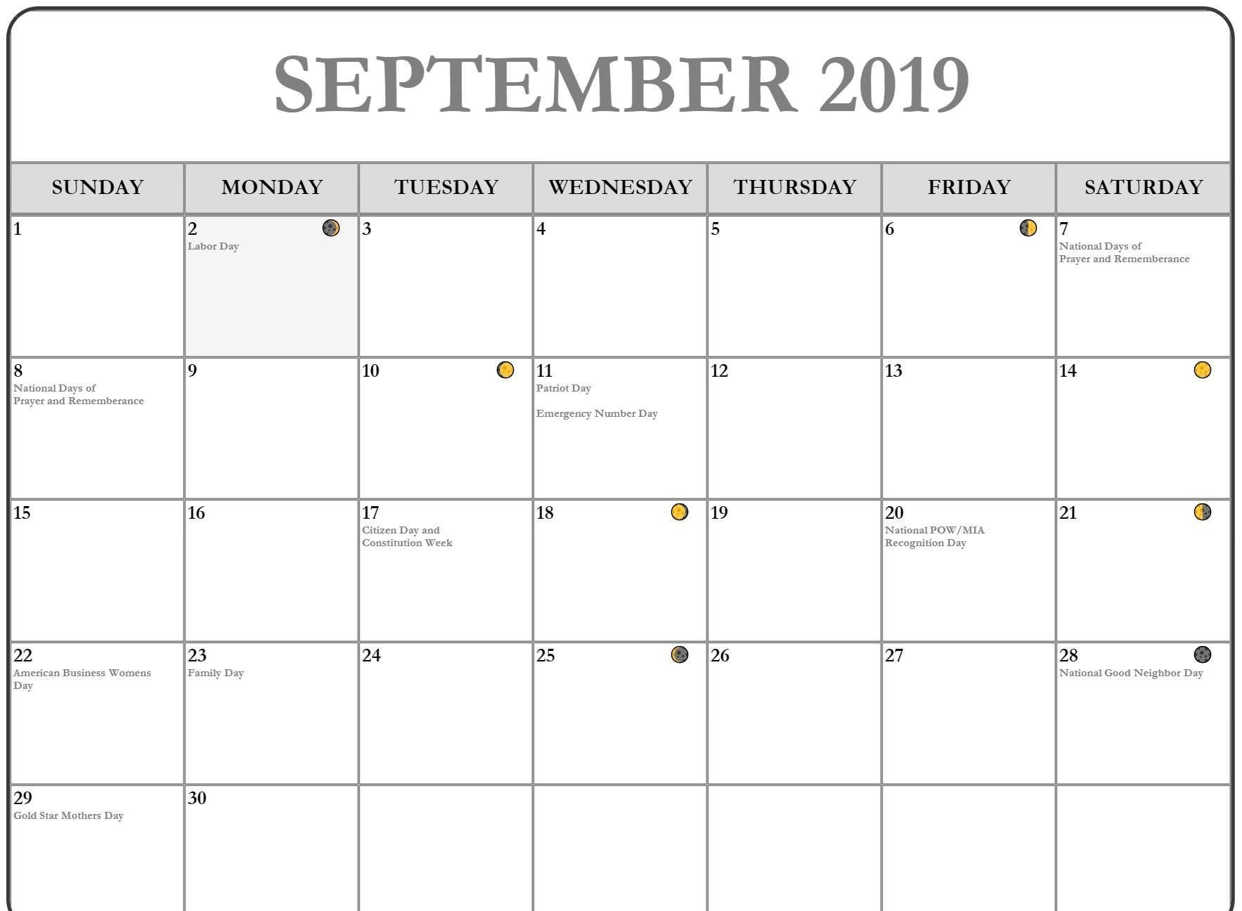 2019 September Moon Phases Calendar