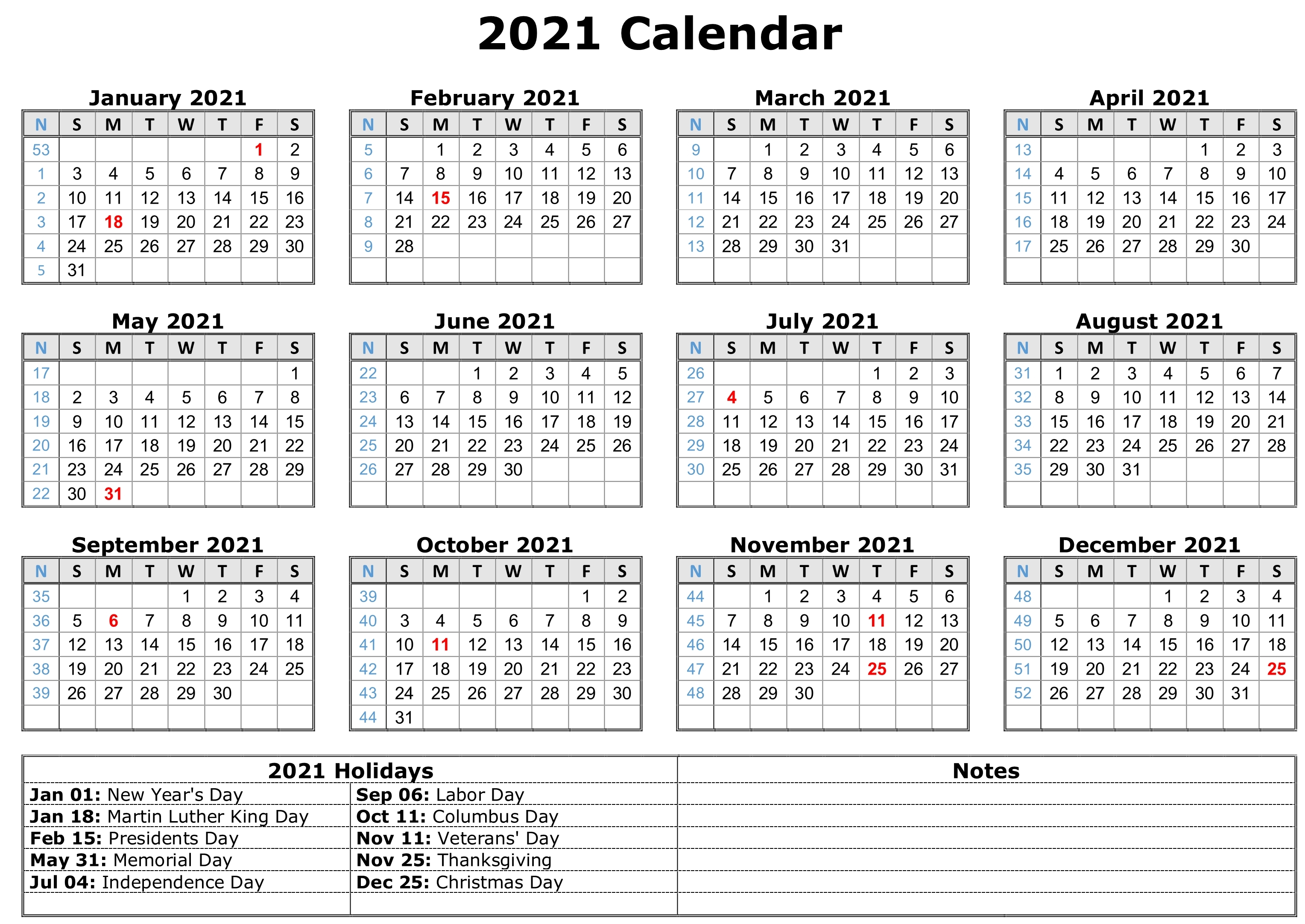 2021 Calendar with Holidays