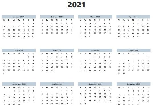 Blank 2021 Calendar Printable Template