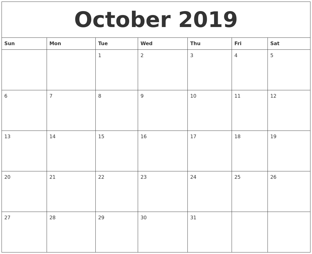 Editable October 2019 Calendar Template