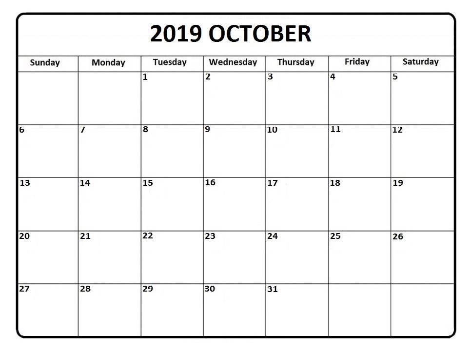 Editable October Calendar 2019 Print