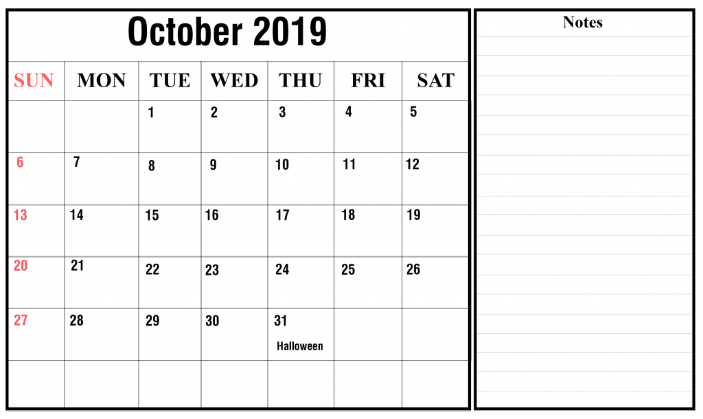 Editable October Calendar 2019 With Notes