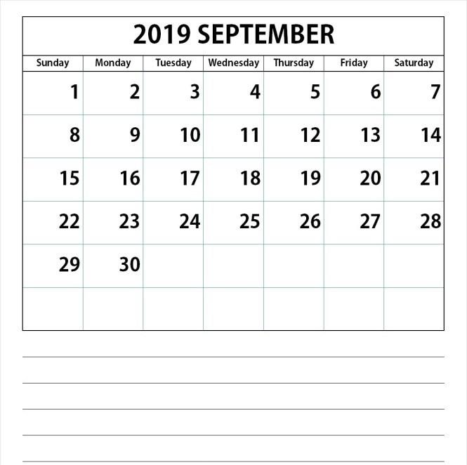September 2019 Calendar Sheet