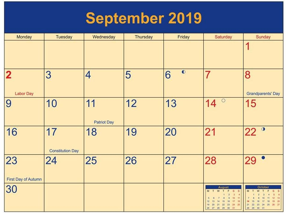 Full Moon September 2019 Calendar