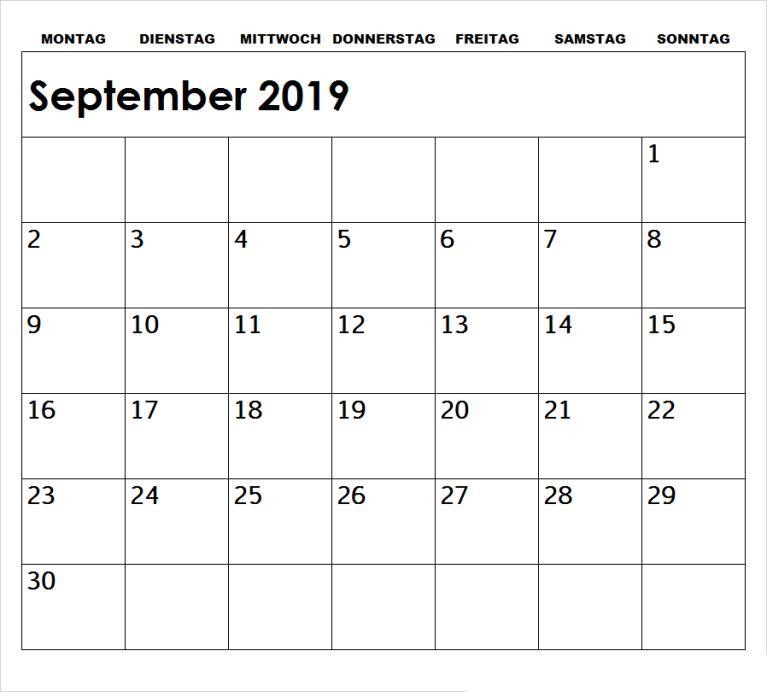 Kalender 2019 September Zum Ausdrucken