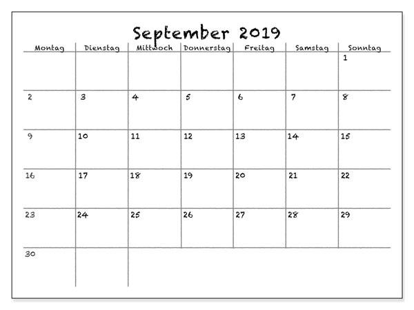 Kalender für September 2019