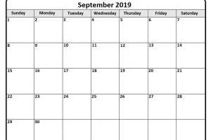 Moon Phases Calendar for September 2019 Printable
