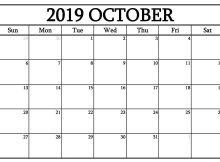 October 2019 Calendar Editable Template Page