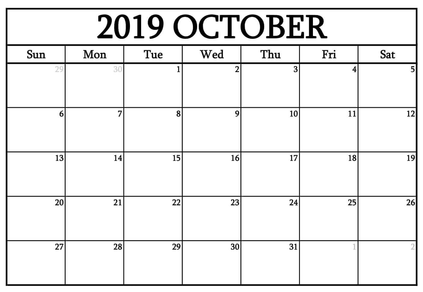 October 2019 Calendar Editable Template