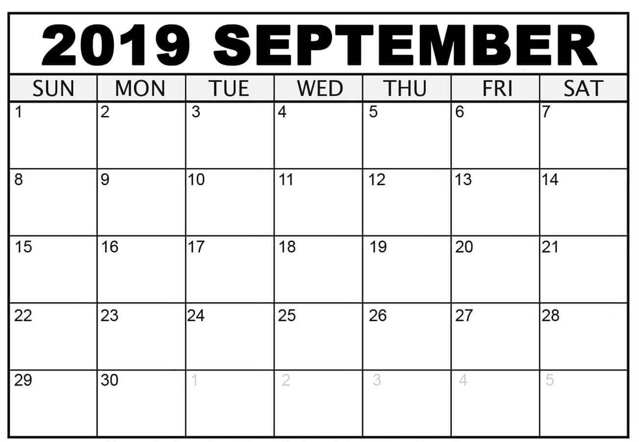 Printable Editable September 2019 Calendar Page