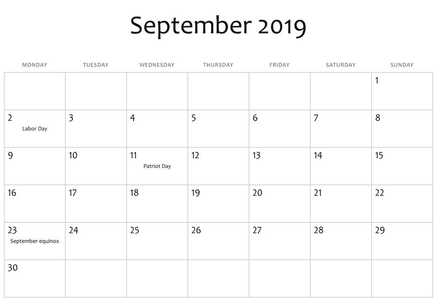 September 2019 Editable Calendar Moon Phases