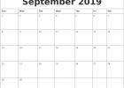 September 2019 Editable Calendar PDF