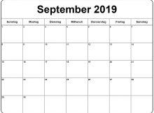 September 2019 Kalender