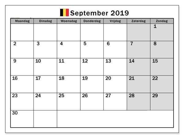 September 2019 Kalender PDF