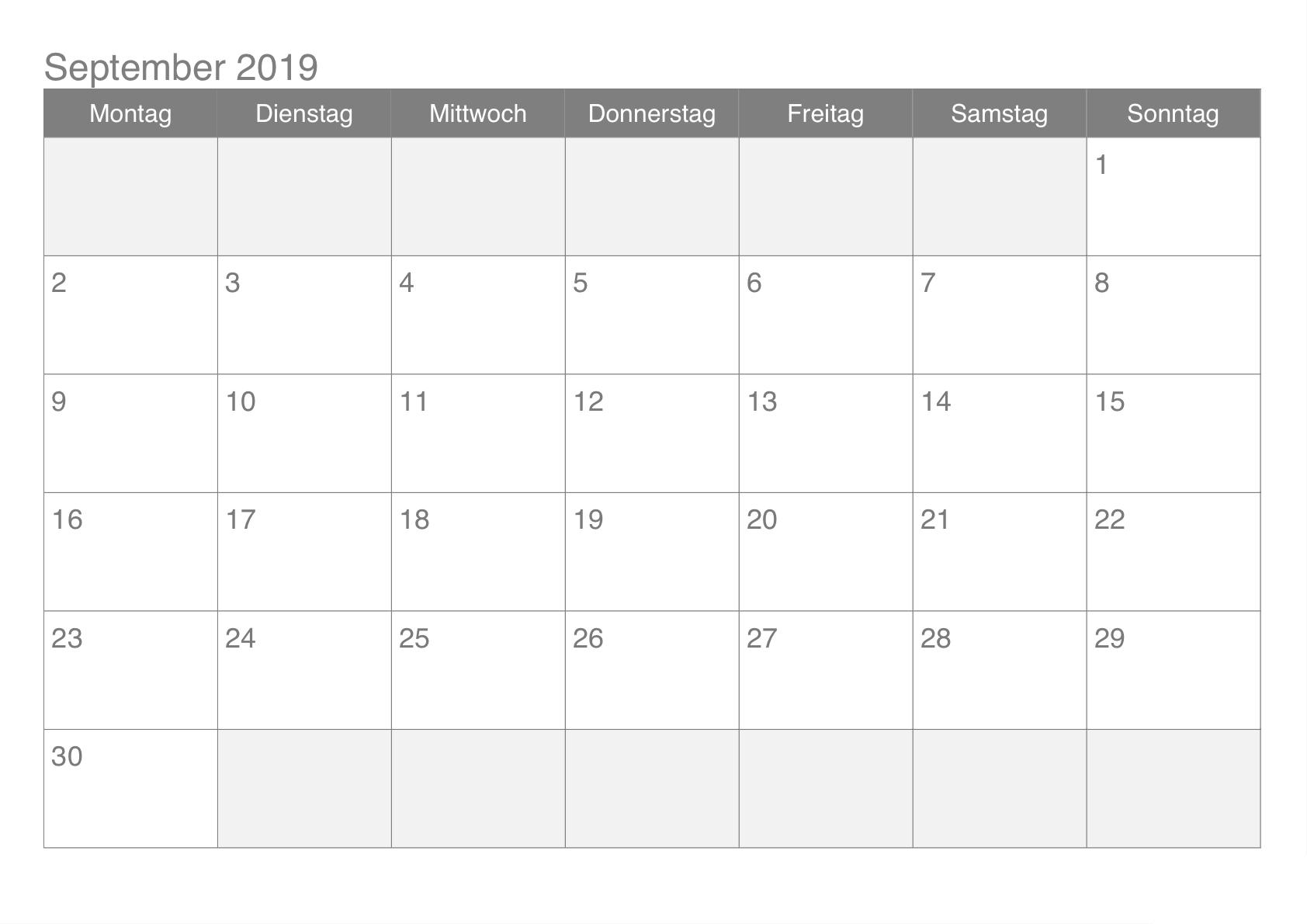 September 2019 Kalender Word