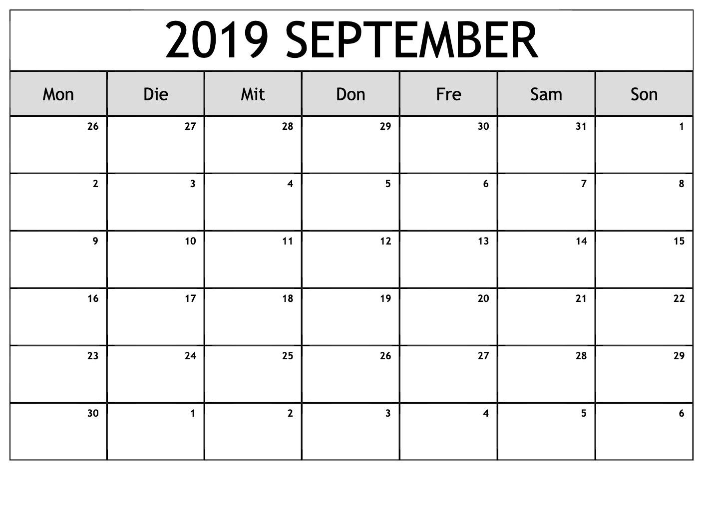 September 2019 Kalender mit Feiertagen