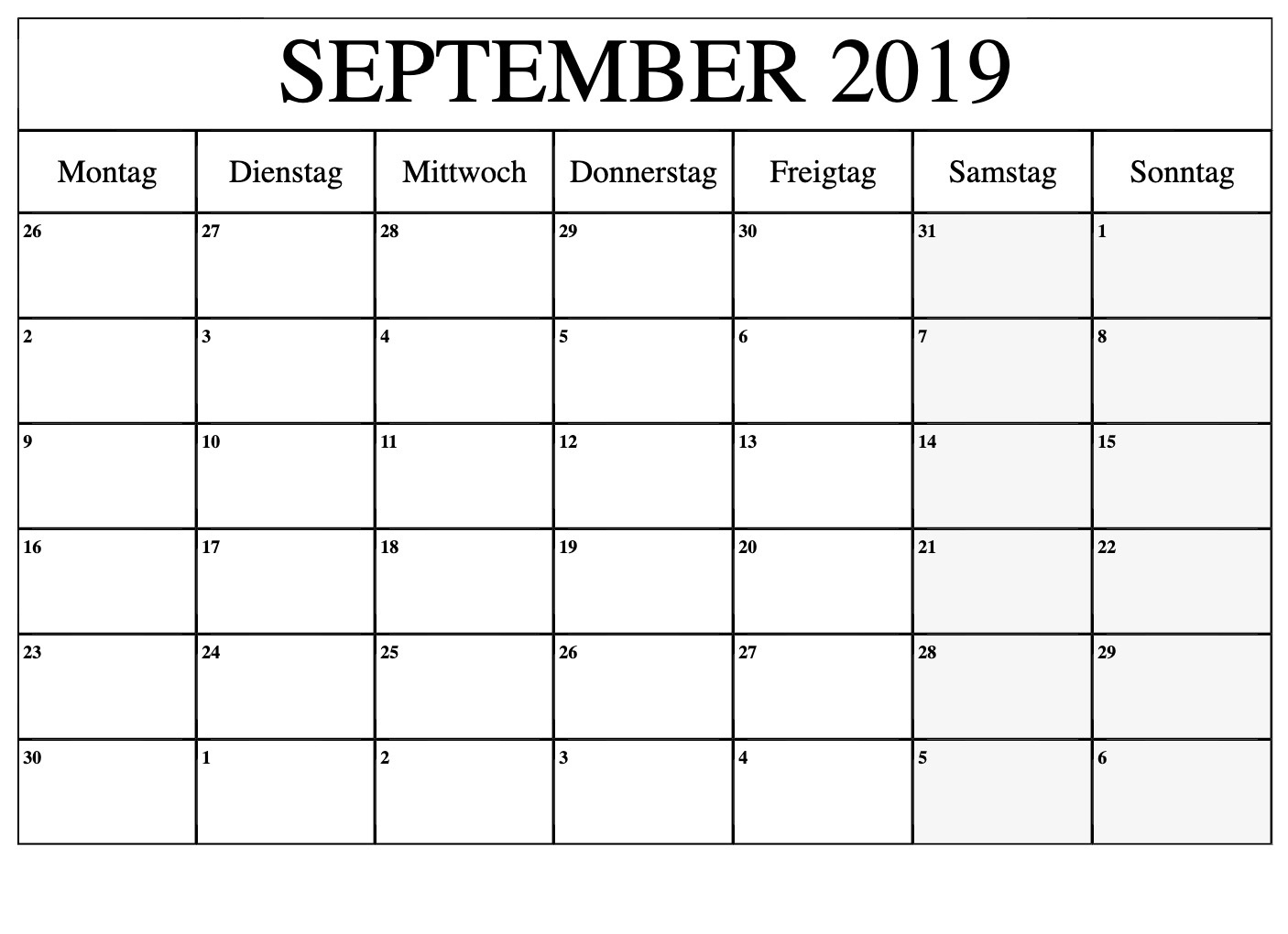 September 2019 Kalendernotizen