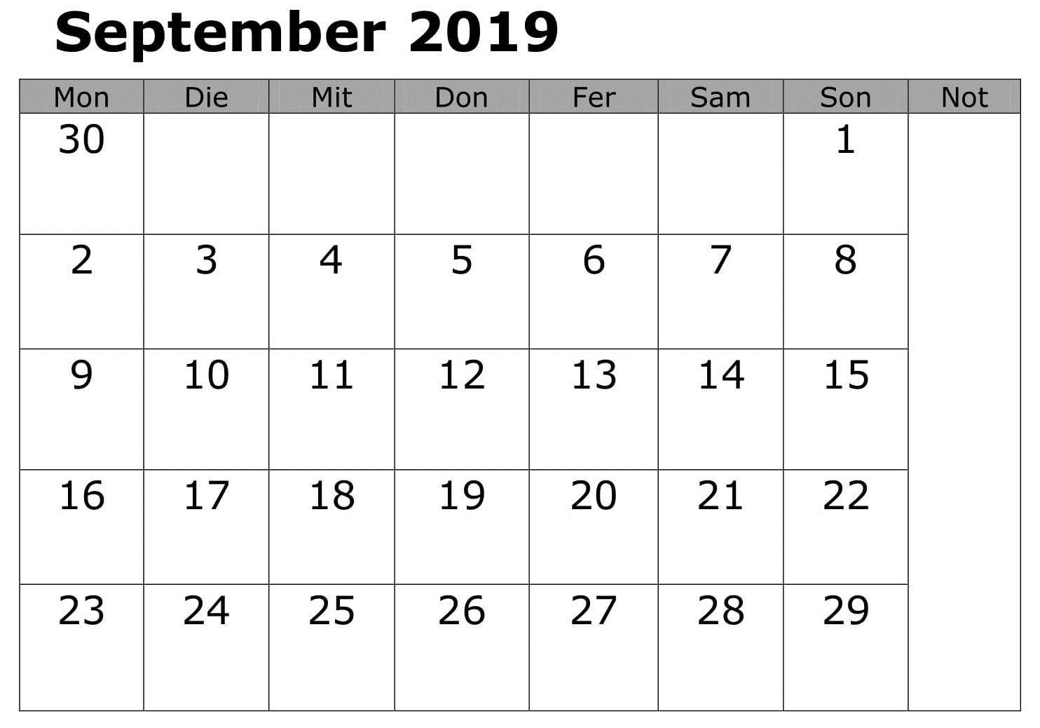 September 2019 Kalendervorlage