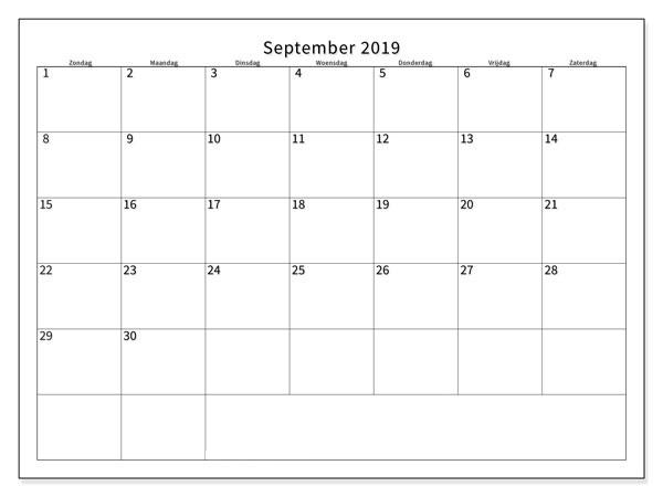 September Kalender 2019