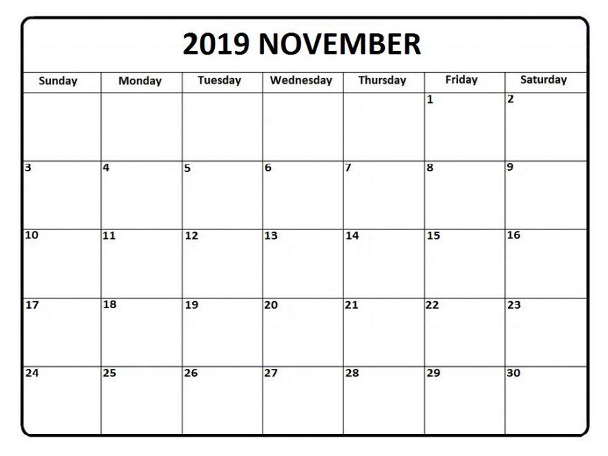 2019 November Editable Calendar Printable Template