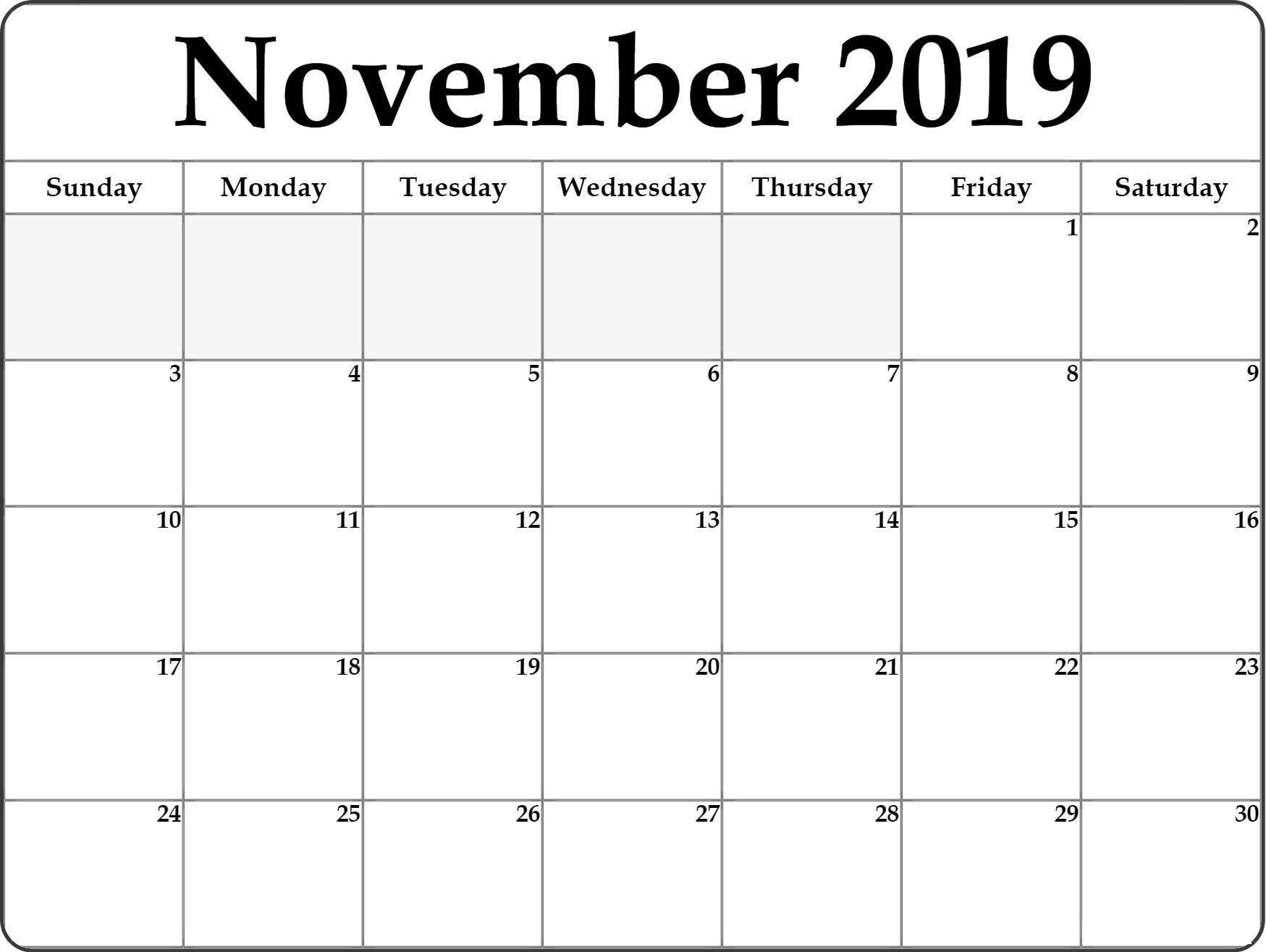 Blank November 2019 Calendar Large Print