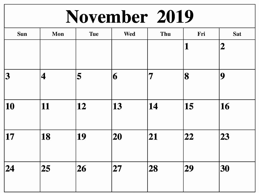 Blank November Month Calendar 2019 Template
