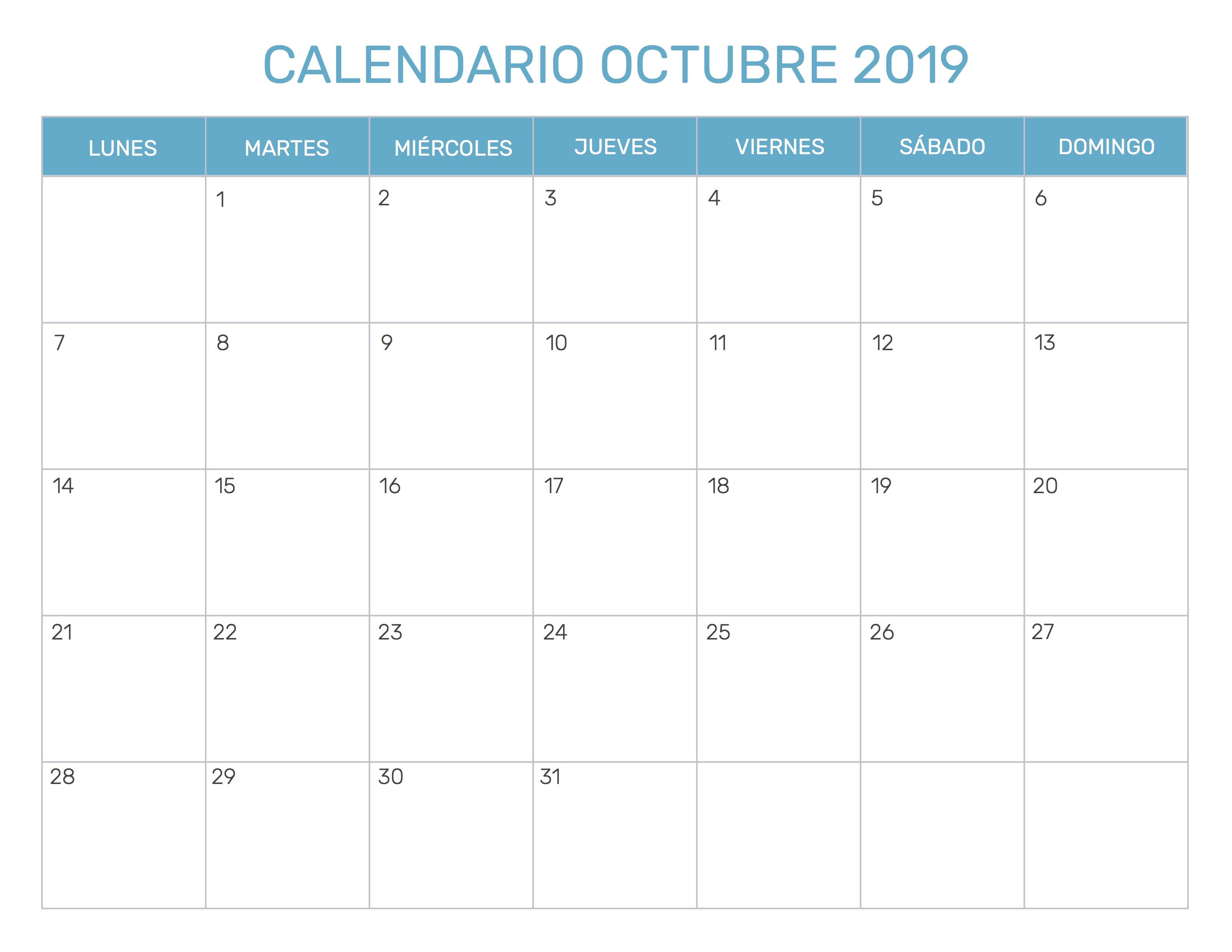 Calendario Octubre 2019 Excel