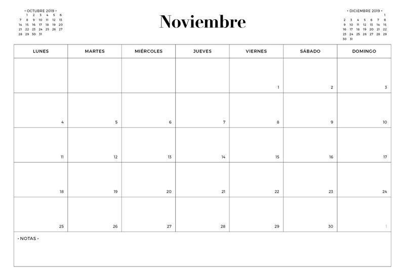 Calendario noviembre 2019 para imprimir