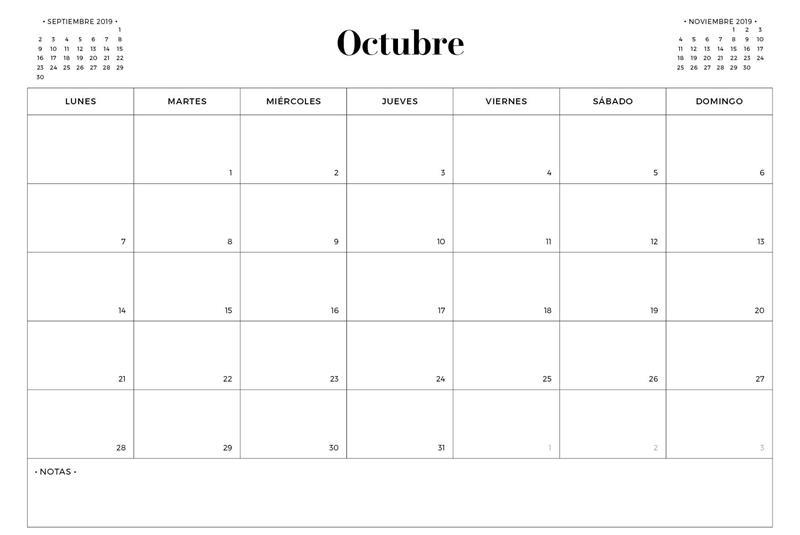 Calendario octubre 2019 PDF