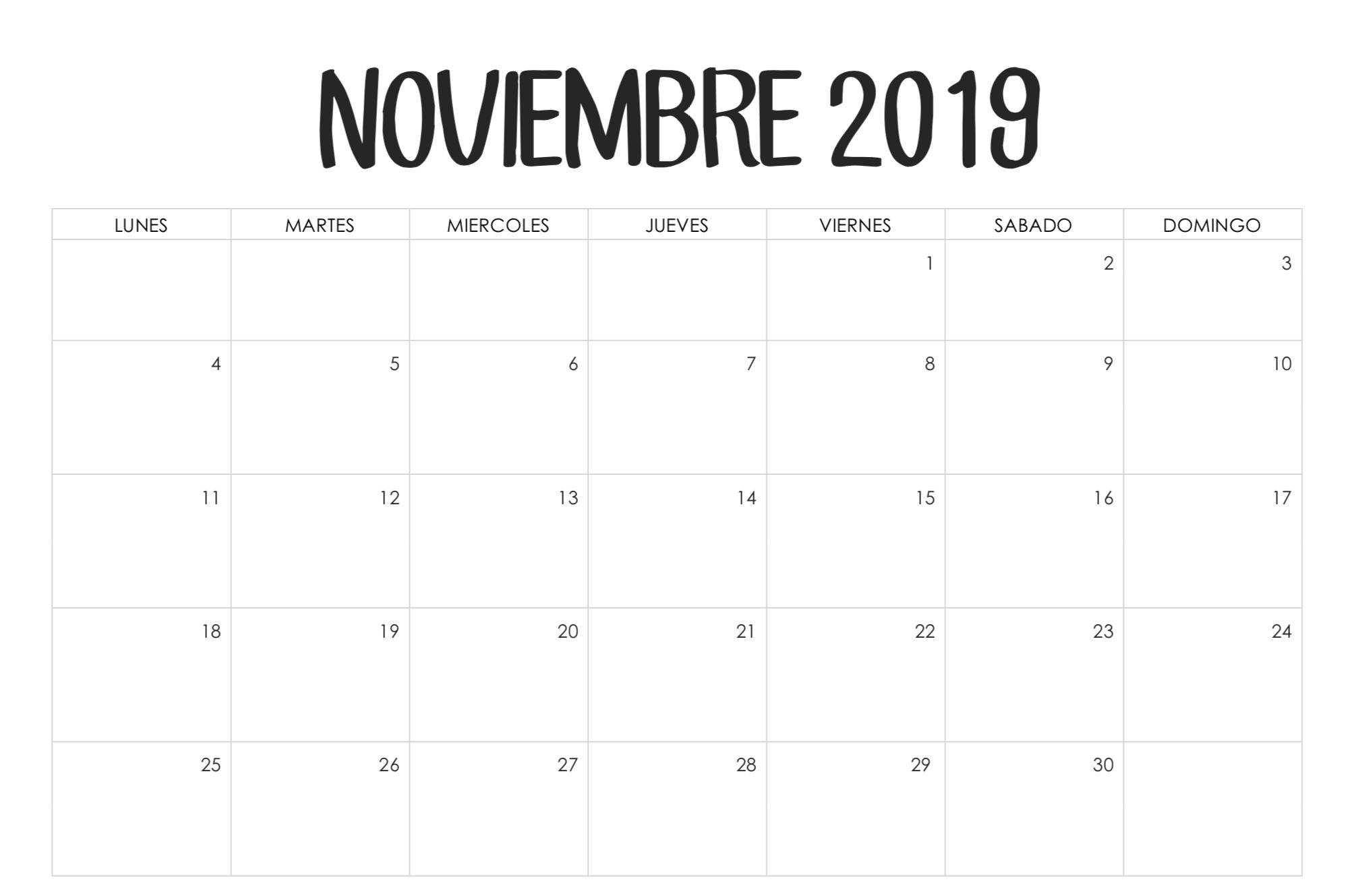 Calendario octubre 2019 con vacaciones