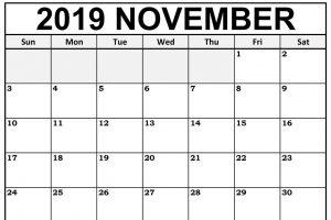 Fillable November 2019 Blank Calendar