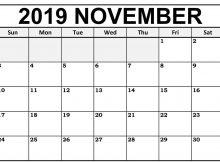 Fillable November 2019 Blank Calendar Editable