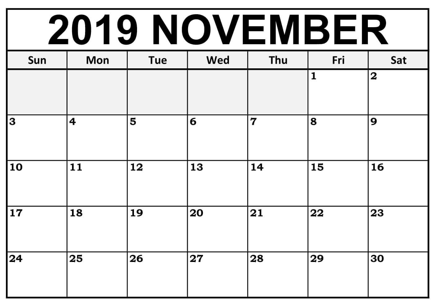 Fillable November 2019 Blank Calendar Editable