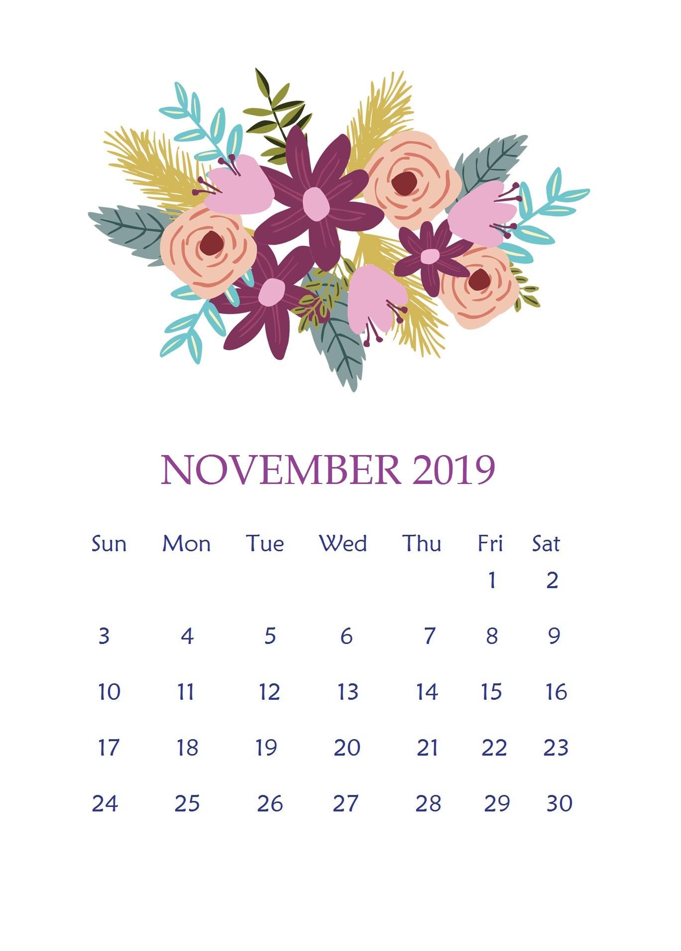 Floral November 2019 Wall Calendar