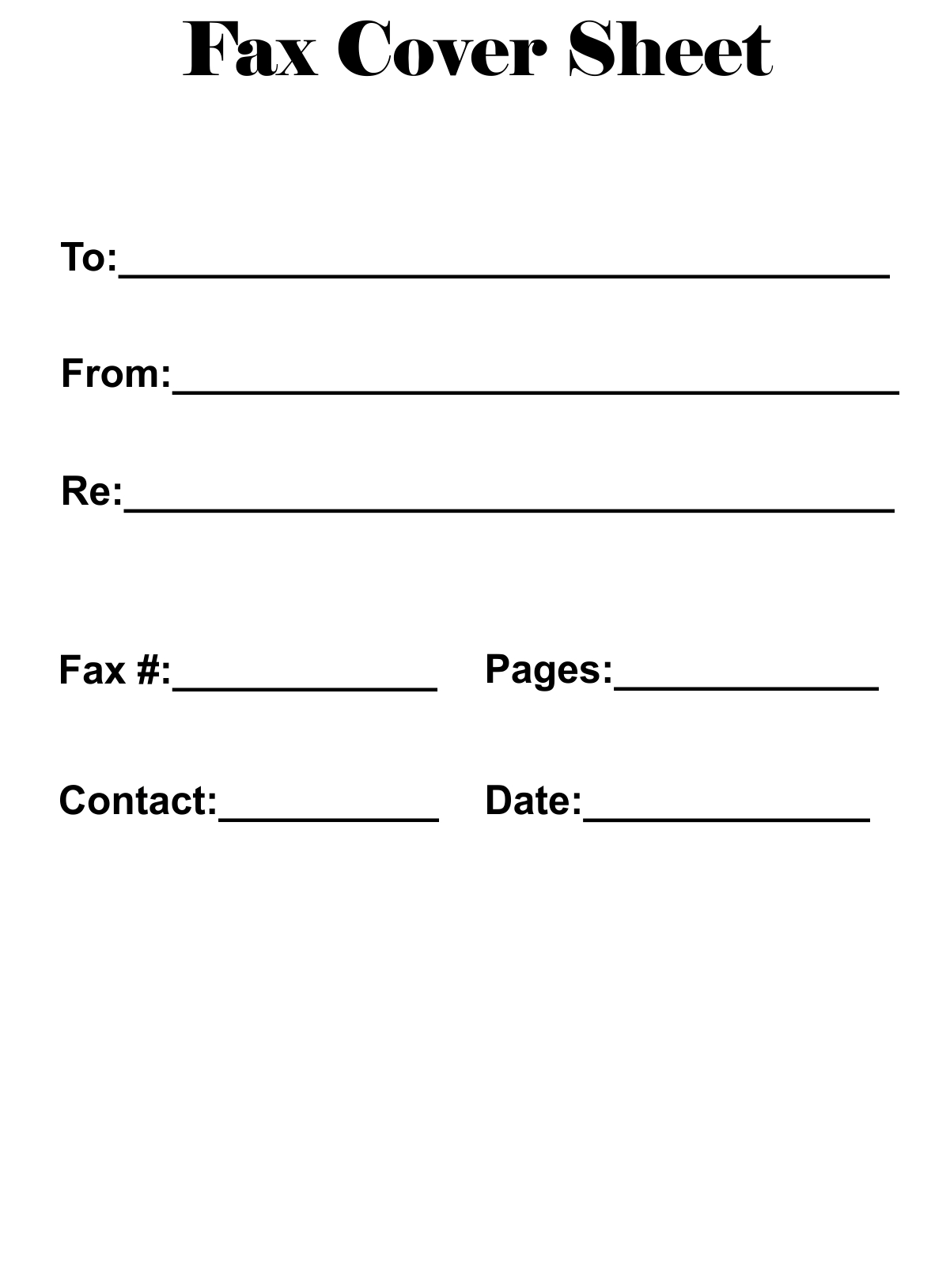Fancy Fax Cover Sheet Template