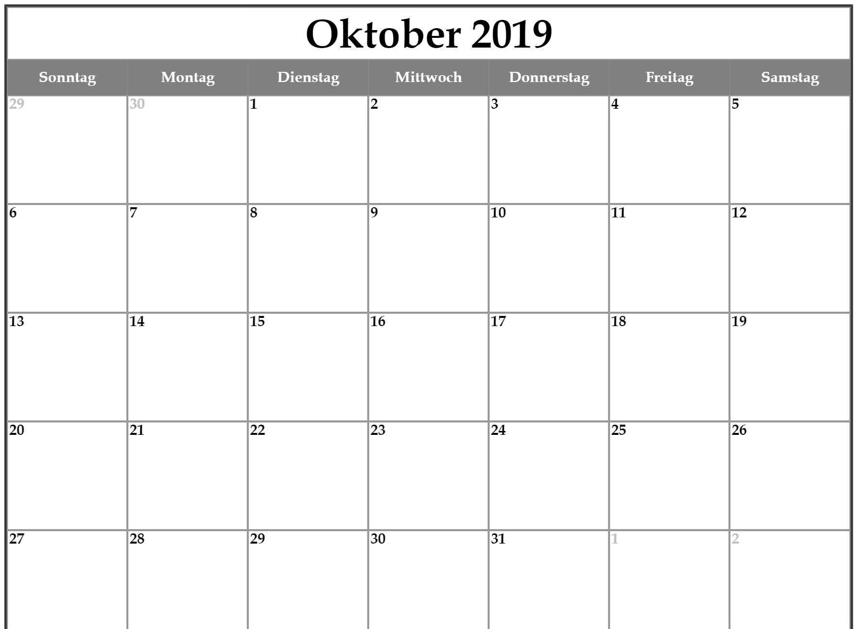 Leerer Kalender für Oktober 2019