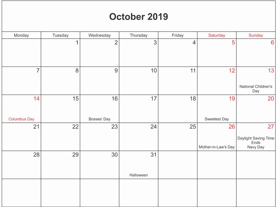 Moon Phases Calendar for October 2019 with Holidays