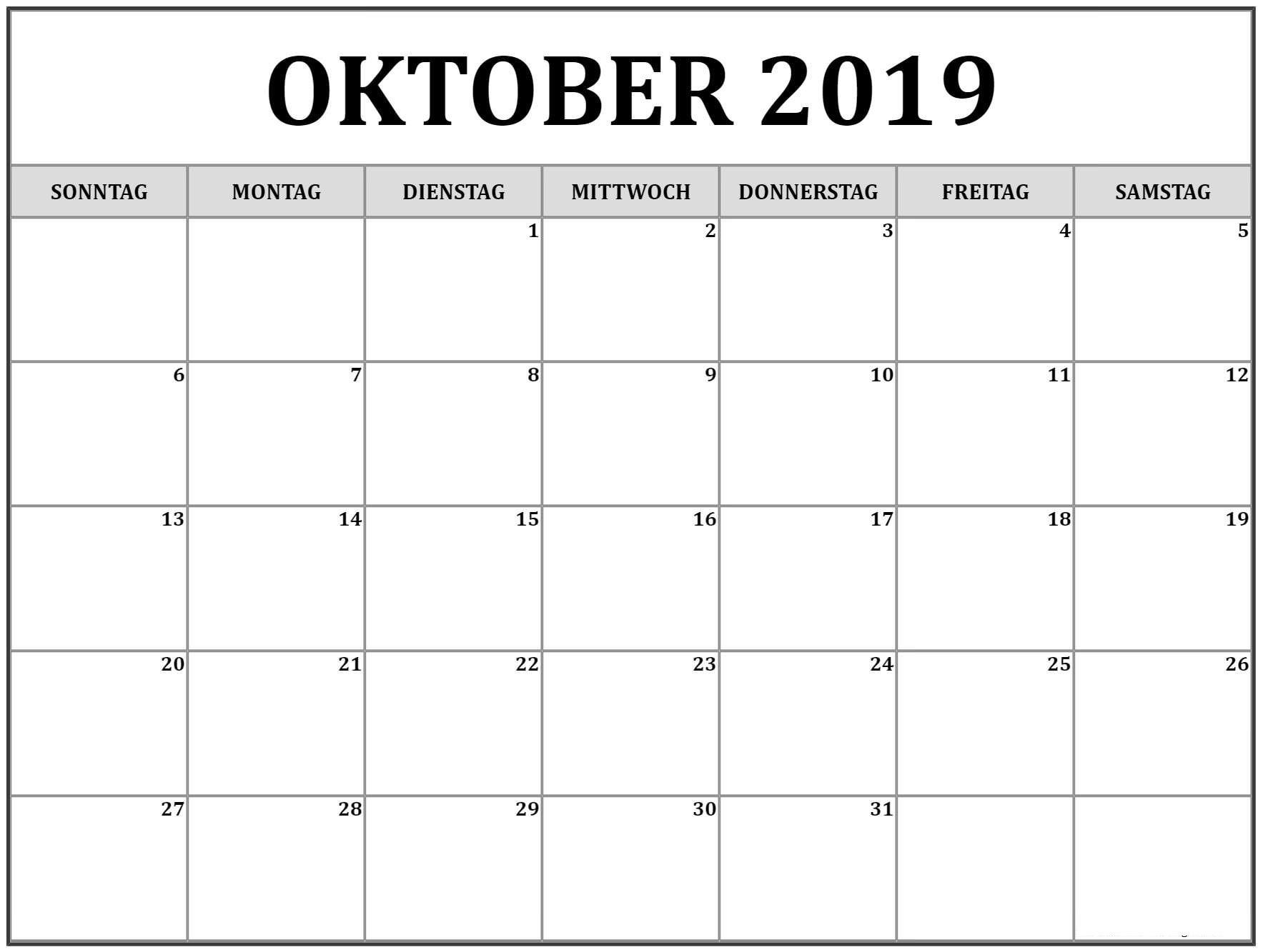 Oktober 2019 Kalendervorlage