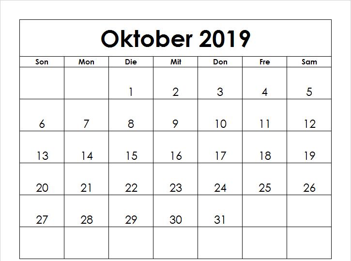 Oktober Kalender 2019 Vorlage