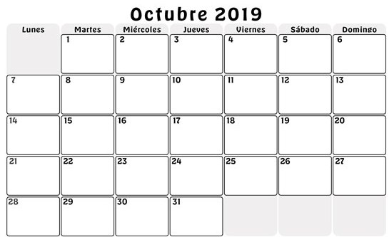 Plantilla Calendario 2019 Octubre