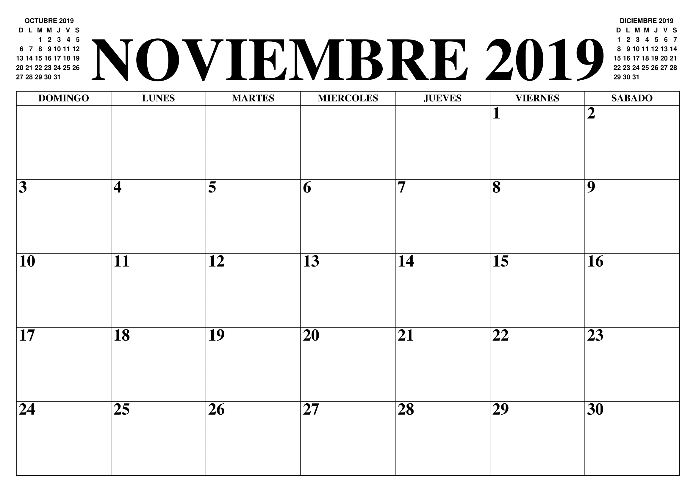 Plantilla de calendario en blanco de noviembre de 2019