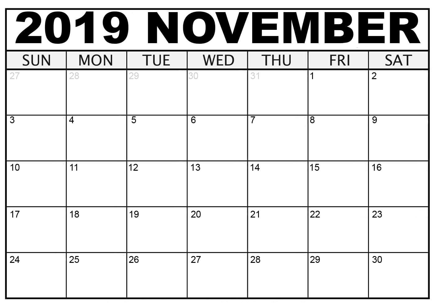 Printable Blank 2019 November Calendar Excel
