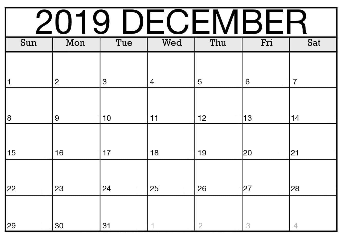 Blank Calendar of December 2019