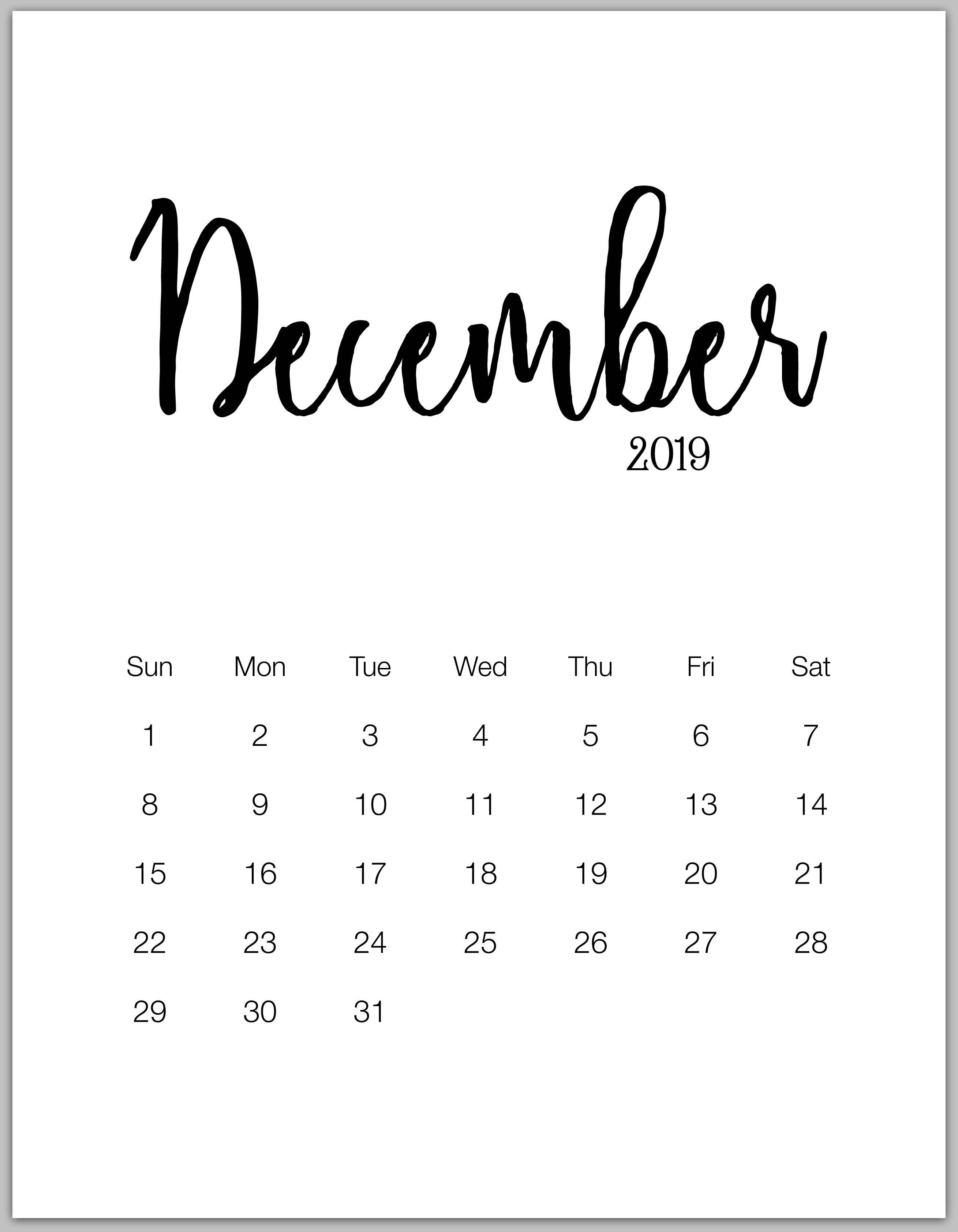 Blank December 2019 Calendar Vertical