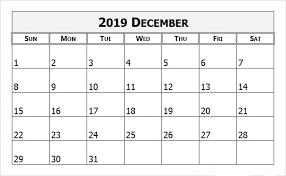 Blank December Calendar 2019