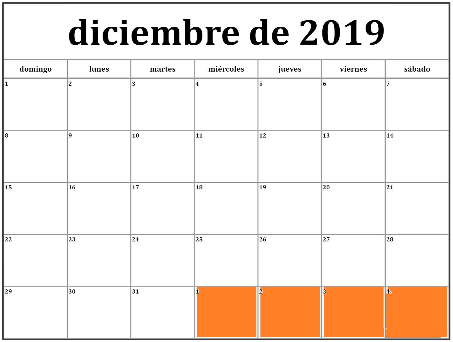 Calendario Diciembre 2019