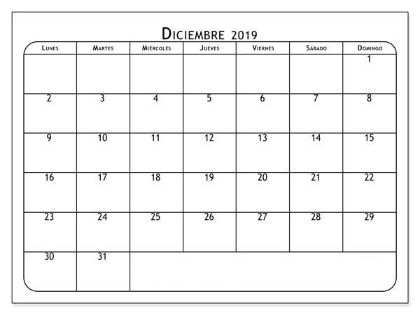Calendario de diciembre de 2019 PDF