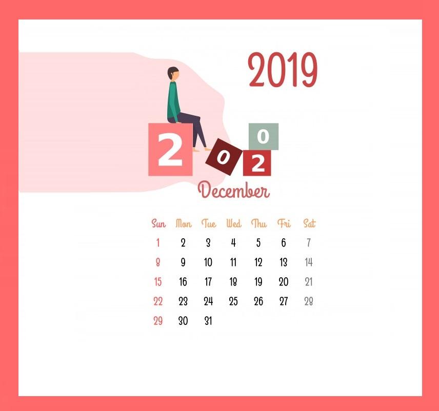 Cute December 2019 Calendar Pink Design
