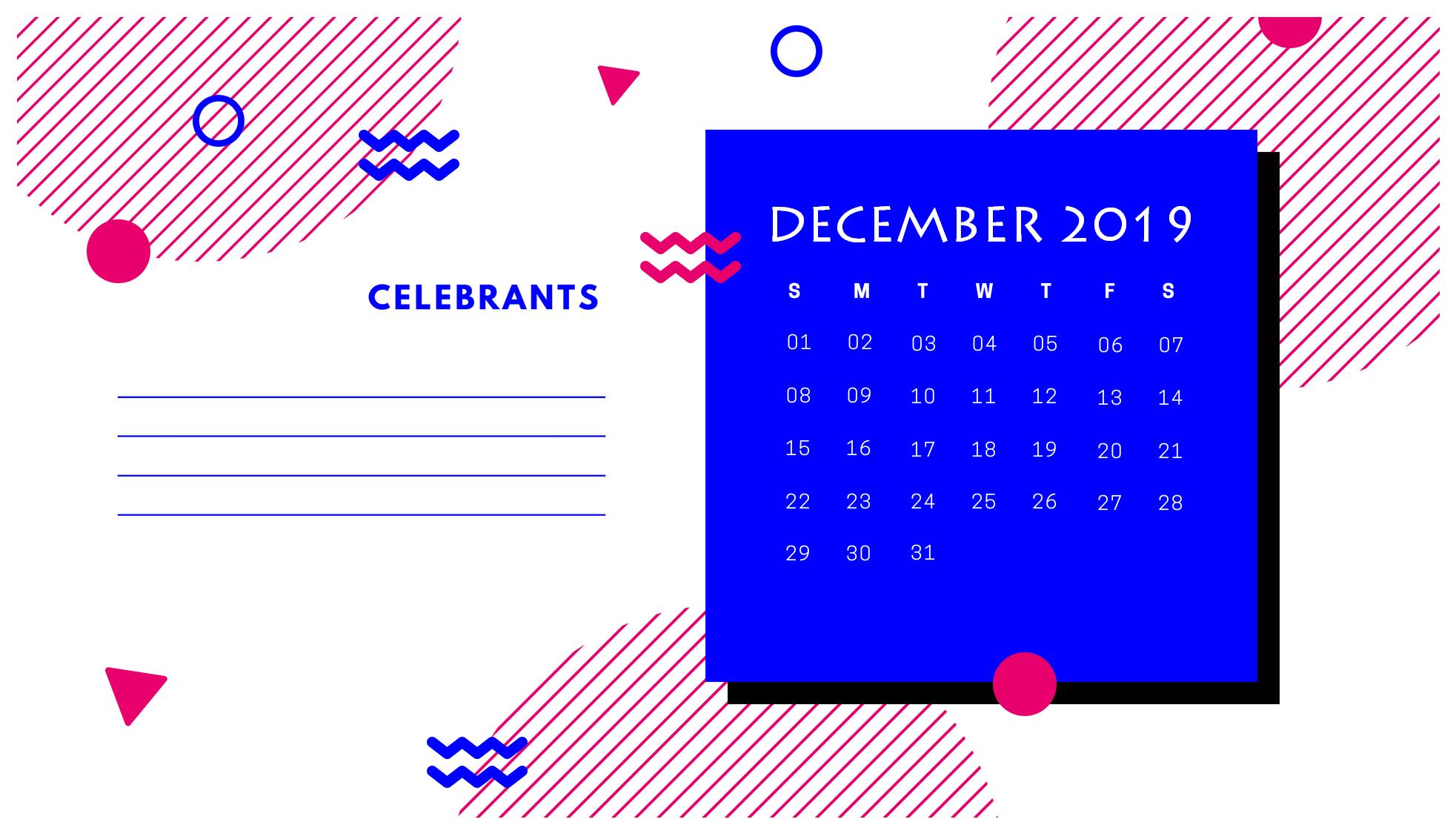 Cute December Calendar 2019